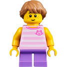 LEGO Girl with Bright Pink Striped Shirt Minifigure