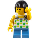 LEGO Girl with Green Patterned White Shirt Minifigure