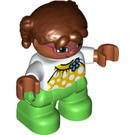 LEGO Girl with Lime Legs, Reddish Brown Hair and White Torso with Flower Decoration Duplo Figure