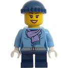 LEGO Girl with Medium Blue Jacket, Dark Blue Short legs and Dark Blue Cap Minifigure