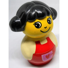 LEGO Girl with Red Base with red heart in pocket, White top with Red Overalls Primo Figure