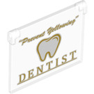 """LEGO Glass for Window 1 x 4 x 3 Opening with """"Dentist"""" Decoration (30718 / 60603)"""