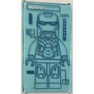 LEGO Glass for Window 1 x 4 x 6 with Iron Man Outline  Sticker (6202)