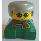 LEGO Green 2x2 Duplo Base Brick Figure - Grandma with Yellow Head wearing Glasses, Gray Hair, Red Scarf Pattern Duplo Figure