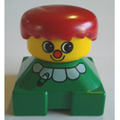 LEGO Green 2x2 Duplo Base Figure -  Clown with Red nose, Red Hair, Yellow Head, Ruffle Collar with Safety Pin Pattern Duplo Figure