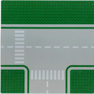 LEGO Green Baseplate 32 x 32 Road 8-Stud T-Junction with Crosswalk