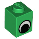 LEGO Green Brick 1 x 1 with Eye without Spot on Pupil (82840)
