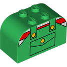 LEGO Green Brick 2 x 4 x 2 with Curved Top with Striped Shirt and Coveralls (4744 / 83166)