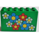 LEGO Green Brick 2 x 6 x 3 with Red, White and Blue Flowers