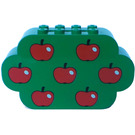 LEGO Green Brick 2 x 8 x 4 with Curved Ends with Apples