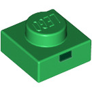 LEGO Green Plate 1 x 1 with 1 Black Rectangle Pattern (Minecraft Zombie Mouth) (17197 / 18965)