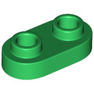 LEGO Green Plate 1 x 2 with Rounded Ends and Open Studs (35480)