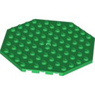 LEGO Green Plate 10 x 10 Octagonal with Hole and Snapstud (89523)