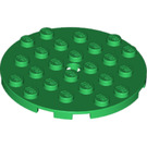 LEGO Green Plate 6 x 6 Round with Pin Hole (11213)