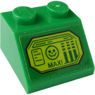 LEGO Green Slope 2 x 2 (45°) with 'MAX!', Face and Bars Sticker