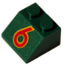 LEGO Green Slope 45° 2 x 2 with Red 6 Printing
