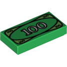 LEGO Tile 1 x 2 with 100 Bank Note Decoration with Groove (3069bpx7 / 82317)