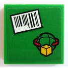 LEGO Green Tile 2 x 2 with Barcode and Cargo Logo Sticker with Groove