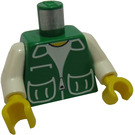 LEGO Green Torso with Green Vest with Pockets Over White Shirt