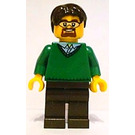 LEGO Green V-Neck Sweater, Dark Brown Legs, Dark Brown Short Tousled Hair, Beard, Safety Goggles Minifigure