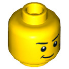 LEGO Head - Two Sided (Scared/Confident Smirk) with Dark Orange Scratches (Recessed Solid Stud) (3626 / 73695)