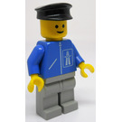 LEGO Highway worker with light gray legs and black police hat Minifigure