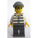 LEGO Jail prisoner with prison stripes, mask Minifigure