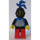 LEGO Knight Plate Armour on Blue Torso Red Cape and Blue Large Plume Minifigure