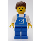 LEGO Lady with Blue Overalls and Brown Ponytail Minifigure