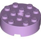 LEGO Lavender Brick 4 x 4 Round with Pinhole and Snapstud (87081)