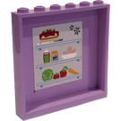 LEGO Lavender Panel 1 x 6 x 5 with Refrigerator Food, Drinks, and Snowflakes Sticker