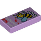 """LEGO Lavender Tile 1 x 2 with """"LET'S BEE FRIENDS!"""" Decoration with Groove (21657)"""