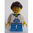 LEGO Lego Creator Child with White Hoodie with Blue Pockets, Dark Azure Short Legs, Freckles, Dark Brown hair ponytail Minifigure
