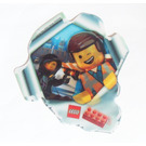 LEGO Lenticular Sticker, Emmet and Wyldstyle Looking Through Torn Hole (5002044)