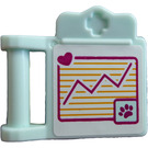 LEGO Light Aqua Medical Clipboard with Tan Graph Sticker from Set 41085