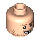 LEGO Light Flesh Minifigure Head with Beard Stubble (Safety Stud) (86752 / 98303)