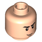 LEGO Light Flesh Minifigure Head with Crooked Smile and Eyebrows (Safety Stud) (56517)