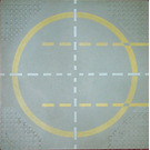 LEGO Light Gray Baseplate 32 x 32, 9-Stud Landing Pad with Yellow Circle Pattern