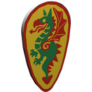 LEGO Light Gray Minifig Shield Ovoid with Green Dragon