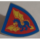 LEGO Light Gray Minifig Shield Triangular with Blue and Yellow Dragon on Red