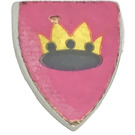 LEGO Light Gray Minifig Shield Triangular with Yellow and Black Crown On Pink or Dark Purple Background (Depending on Issue) Sticker
