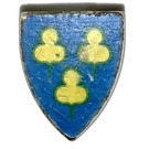 LEGO Light Gray Minifig Shield Triangular with Yellow People Sticker on Blue Background