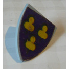 LEGO Light Gray Minifig Shield Triangular with Yellow People Sticker on Purple Background