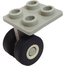LEGO Light Gray Plate 2 x 2 Thin with Two Space Shuttle Wheels attached to Solid Pins