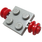 LEGO Light Gray Plate 2 x 2 with Red Wheels