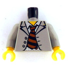 LEGO Scientist with Light Gray Jacket and Striped Tie Torso with Light Gray Arms and Yellow Hands (973)