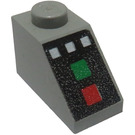 LEGO Light Gray Slope 1 x 2 (45°) with Green and Red Button, White Buttons