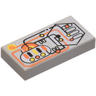 LEGO Light Gray Tile 1 x 2 with Electronic Circuitry Decoration with Groove