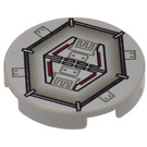 """LEGO Light Gray Tile 2 x 2 Round with Millennium Falcon Airlock Hatch with """"X"""" Bottom"""