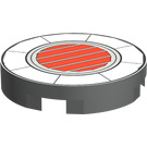 LEGO Tile 2 x 2 Round with Red & Black Vent with Normal Bottom (4150)